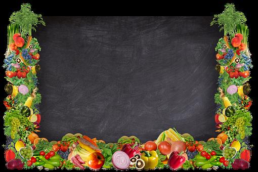 Chalk Board, Veggies, Fruit, Food, Vegan, Vegetarian