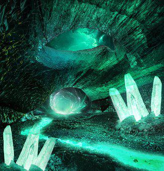 Cave, Lights, Fantasy, Cavern, Rock Formation, Water