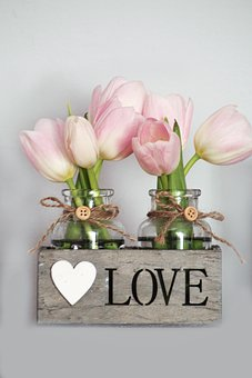 Happy Easter, Tulips, Love, Flower, Wooden