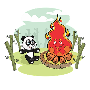 Panda, Campfire, Bamboo, Camping, Bonfire, Campsite