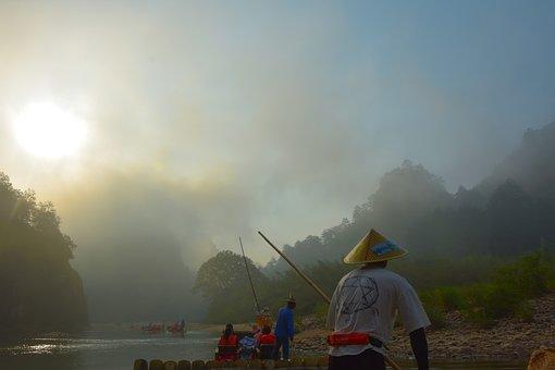 Wuyi Mount, China, Fujian, Nature, Bamboo Raft, Peace