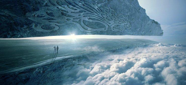 Fantasy, Light, Clouds, Rock, Sky, Plateau, Landscape