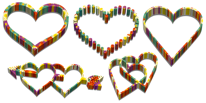 Hearts, Romantic, Isolated, Cut, Love, Transparent, 3d