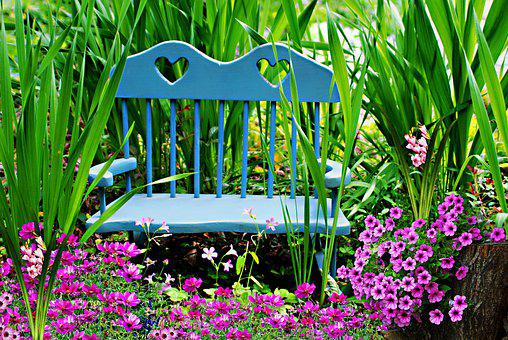 Rocking Chair, Flowers, Garden, Seat, Bench, Leaves
