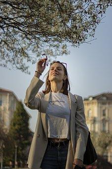 Girl, Love, Flowers, Lugano, Swiss, Parco Ciani, Model