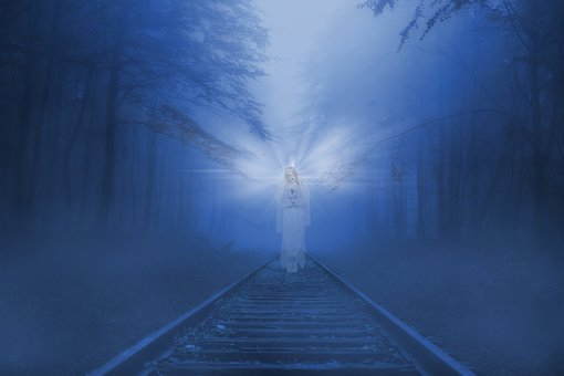 Fantasy, Ghost, Railroad, Night, Fog, Mist, Railway