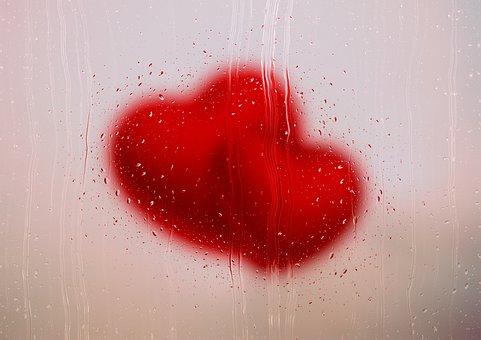 Heart, Glass, Raindrops, Frosted Glass, Love, Rain, Fog