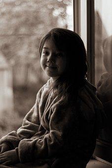 Girl, Smile, Window, Street, Morning, Dreams, House