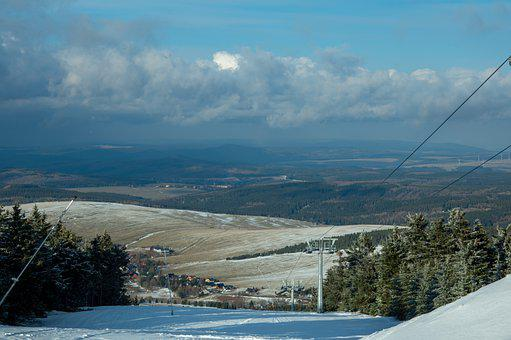 Ski Slope, Snow, Mountains, Panorama, View, Winter