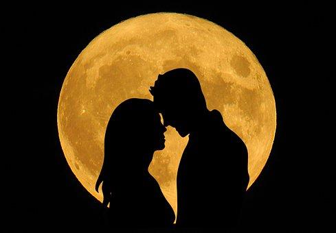 Couple, Love, Moon, Full, Romantic, Relationship