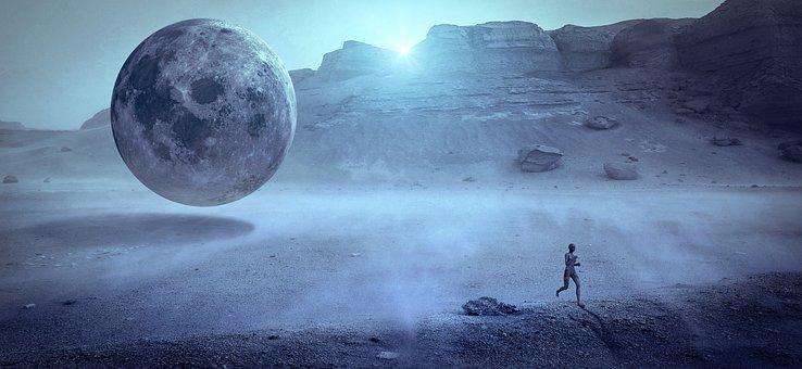 Fantasy, Moon, Human, Race, Fog, Sunlight, Light, Float