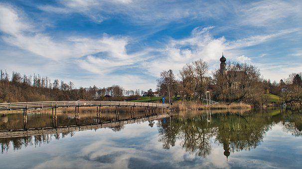 Town, Lake, Bridge, Reflection, Water, Wooden Bridge
