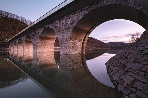 Bridge, River, Reflection, Water, Architecture, Arches
