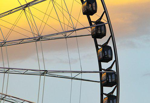 Wheel, Fortune, Fun, Entertainment, Movement, Sunset