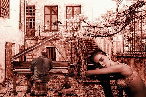 Woman, Young, Piano, Man, Musician, Dreamy, Music