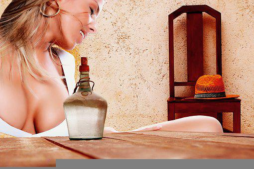 Woman, Bottle, Table, Hat, Chair, Smile, Joy Of Life