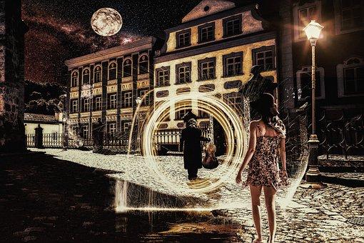 Woman, Man, Alley, Young, Curious, Portal, Secret