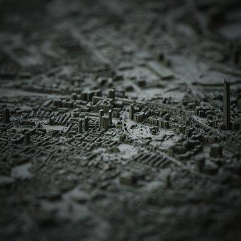 Dark, City, Render, 3d, Focus, Night, Cg, Cgi, Midnight