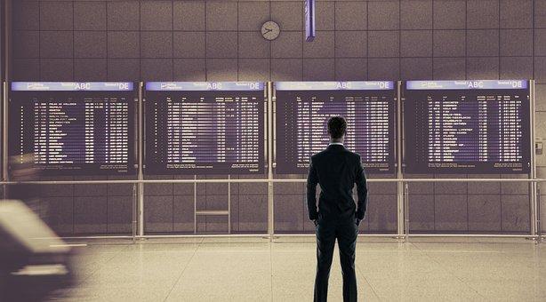 Airport, Businessman, Departures, Boarding, Man