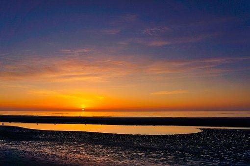 Beach, Sunset, Sun, Dusk, Landscape, Water, Sea