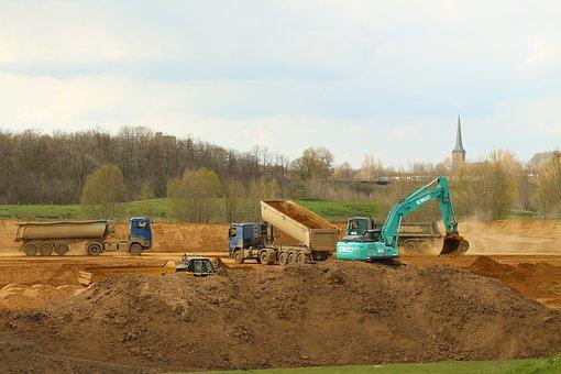 Heavy Machineries, Dam Construction, Construction Site