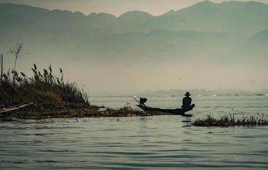 Lake, Fisherman, Boat, Fishing Boat, Silhouette, Fog