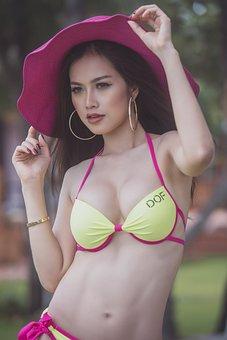 Bikini, Model, Woman, Girl, Beauty, Sexy, Hot, Hat