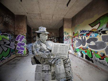 Man, Newspaper, Graffiti, Reading, Read, Paper, News