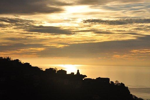 Sunset, Village, Sea, Silhouette, Hill, Mountain