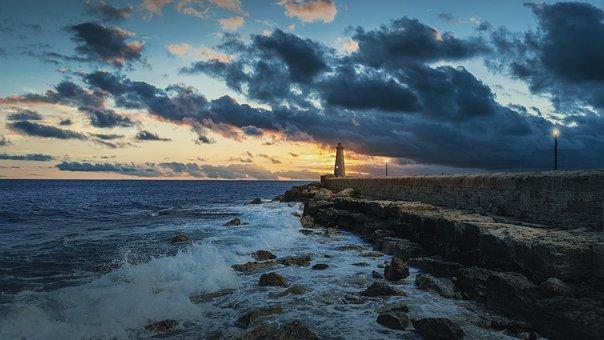 Sky, Lighthouse, Beach, Water, Marine, Breakwaters