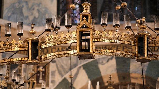 Dom, Chandelier, Babarossa Chandelier, Church, Aachen