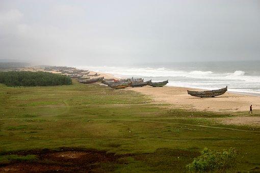 Beach, Boats, Coast, Sea, Ocean, Waves, Sand, Coastline