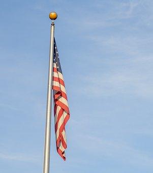 American Flag, Flag Pole, Usa, America, Flag