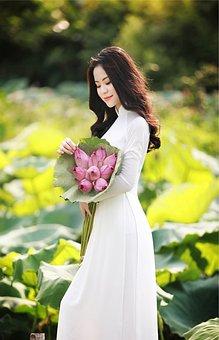 Model, Ao Dai, Lotus, Flowers, Fashion, Woman, Girl
