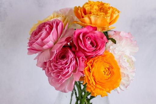 Flowers, Bouquet, Rose, Ranunculus, Bloom, Cut Flowers