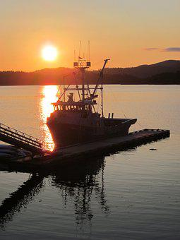 Sun, Sunset, Boat, Dock, Pier, Port, Ship, Vessel