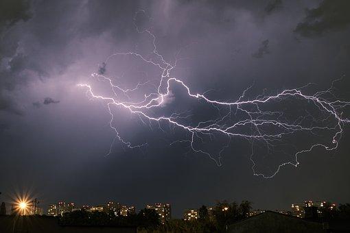 Lightning, City, Night, Sky, Clouds, Thunder, Weather