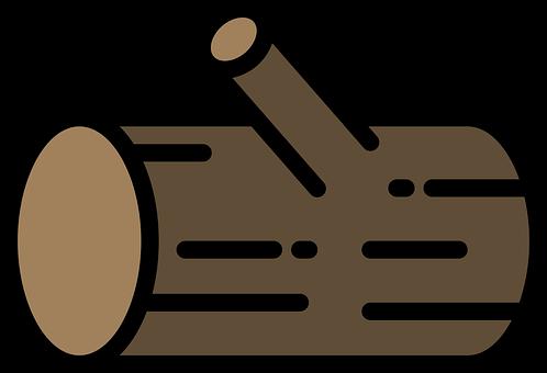 Wood, Log, Trunk, Tree Trunk, Icon, Line Art