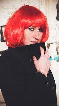 Girl, Wig, Fashion, Style, Stylish Woman, Red Wig