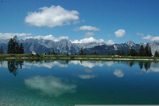 Lake, Alps, Trees, Fields, Alpine, Clouds, Calm Waters