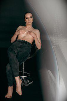 Woman, Model, Nude, Body, Sitting, Pose, Studio