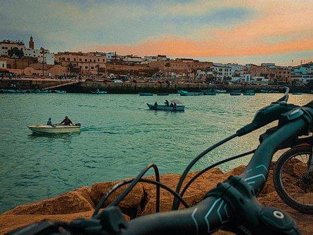 Marina, Boats, River, Buildings, City, Cityscape