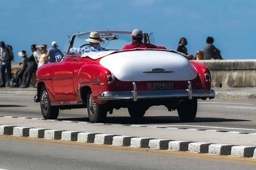 Cuba, Havana, Taxi, Convertible, White Interior