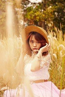 Model, Woman, Asian, Dress, Hat, Fashion, Style, Field
