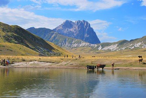 Mountains, Lake, People, Animals, Abruzzo, Gran Sasso