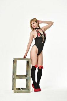 Woman, Model, Portrait, Lingerie, High Heels, Stockings