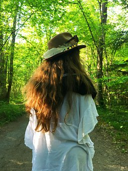 Girl, Back, Woods, Trees, Forest, Woodlands, Hair
