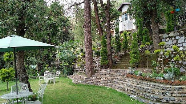 Garden, Lawn, Resort, Table, Umbrella, Chairs, Outdoors