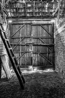 Barn, Door, Hay, Farm, Old, Weathered, Countryside