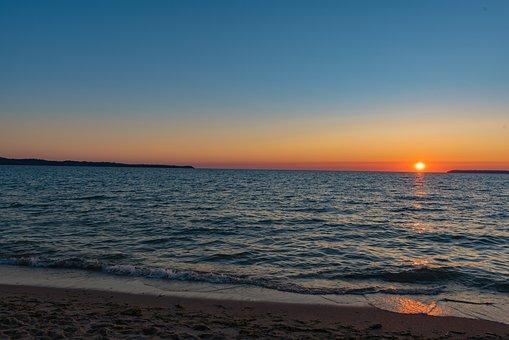 Sunset, Beach, Water, Sea, Horizon, Sun, Dusk, Twilight